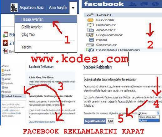 facebook reklamlarini  kapat
